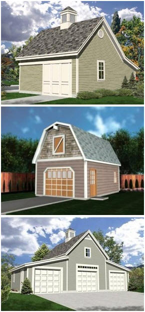 3 Car Garage Barn Style : Instant download garage plans