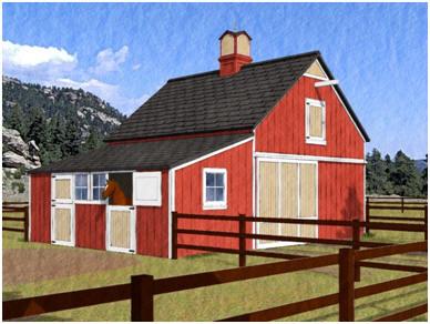 Chestnut four stall horse barn plans for 4 horse barn