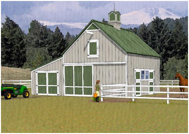 A Combination Horse Barn and Garage - The Chestnut Barn & Garage combines two-stalls, a hay-loft, a front-to-back alley and a 12'x24' garage, storage area or equipment shelter. Building plans are available at BackroadHome.net. Just click on the barn to see a floor plan.
