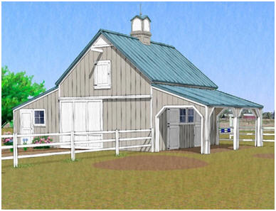 Chestnut Hill Two Stall Horse Barn And Workshop Plans