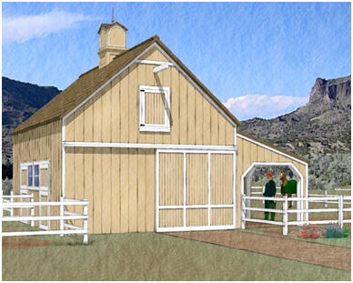 Chestnut Ridge Two-Stall Pole Barn and Run In - This small barn expands out to the paddock with a 12'x24' shelter that you can use for equipment or as a loafing shed. Click on the barn to see a floor plan with dimensions. Builders' blueprints are available at BackroadHome.net