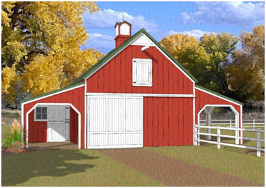 Three-Stall Horse Barn Plans - The Chestnut Valley Pole-Barn has three stalls that open out to covered grooming areas. There's a front-to-back alley and hay loft too. Click to see a floor plan and dimensions. Complete construction blueprints are available at BackroadHome.net